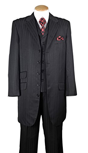 Fortino Landi 5 Button Stripe Single Breasted Suit With Vest ()