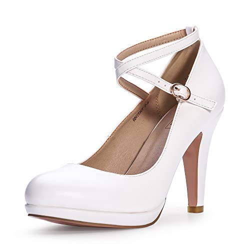 IDIFU Women's RO4 Tracy Buckle Crisscross Strap Platform Pump Round Toe Party High Heels Shoes (11 M US, White Pu)