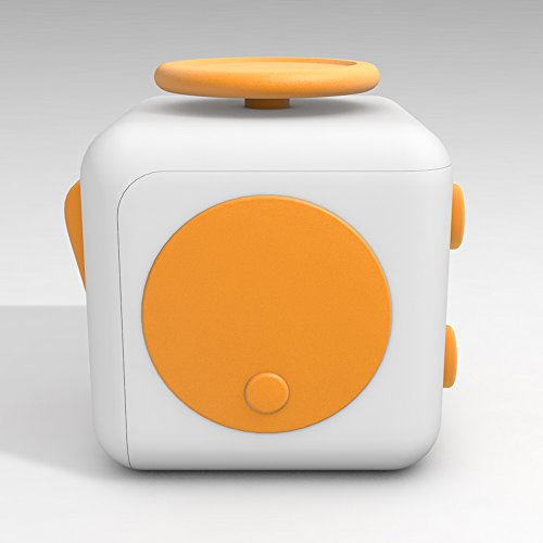 D-JOY Cube Fidget Toy Cube Relieves Stress and Anxiety Attention Toy for Work, Class, Home (White Yellow) Photo #5