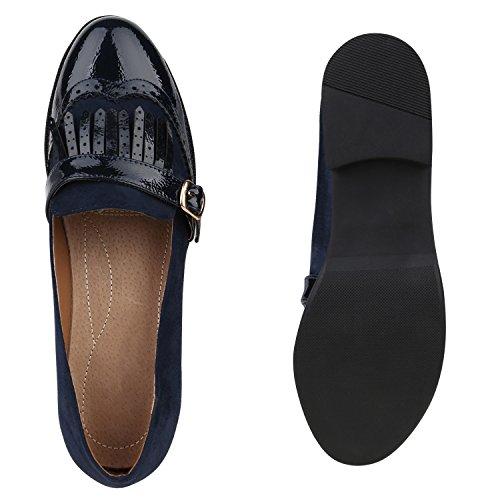 Stiefelparadies Damen Slippers Loafers mit Blockabsatz Lack Fransen Flandell Dunkelblau