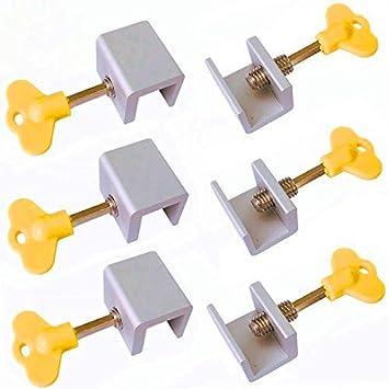 6 piezas de cerraduras ajustables para ventanas correderas de aleación de aluminio para puerta con cerradura de seguridad con llaves: Amazon.es: Bricolaje y herramientas