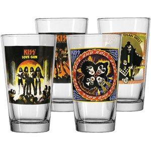 KISS Army Rock Band Concert Album Beer Pint Bar Glass Barware Drink Gift Set 4 ()