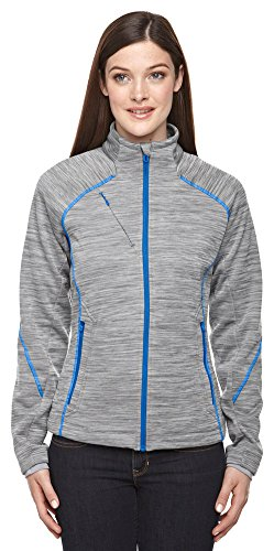 North End Sport Ladies Flux Mélange Bonded Fleece Jacket, Medium, PLATINUM 837 (Bonded Fleece Outerwear)