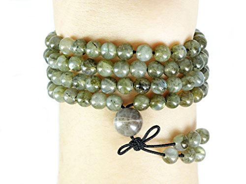 jennysun2010 Handmade Multi-Purpose Natural 6mm Labradorite Gemstone Buddhist 108 Beads Prayer Mala Stretchy Bracelet Necklace Healing 26 (inches)