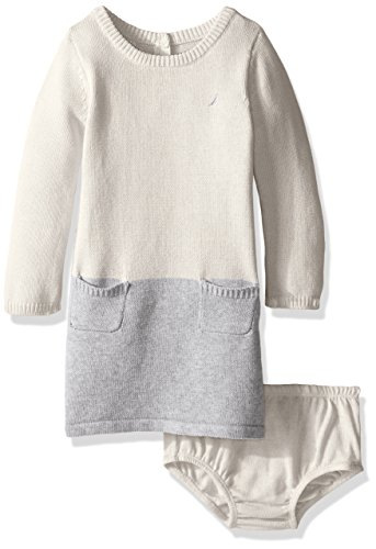 Nautica Baby Colorblock Sweater Dress, Cream, 18 Months - Colorblock 2 Piece Dress