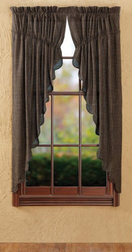 63 in. Plaid Prairie Scalloped Curtain in Black – Set of 2