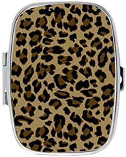 VOLLET Fashion Leopard Print Creative Square Pill Case Pocket Box Stainless Steel Mirrored Locket Portable