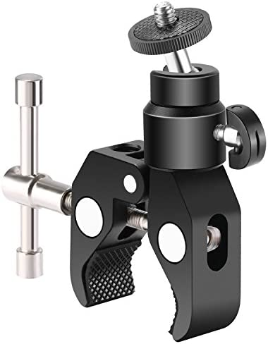 NEEWER METAL ADJUSTABLE CAMERA LARGE SUPER CLAMP AND BALL HEAD HOT SHOE MOUNT ADAPTER WITH 1/4 INCH SCREW FOR DSLR FILM MOVIE RIG, MONITOR, FLASH, LED LIGHTS, TRACK SLIDER AND LIGHT STAND