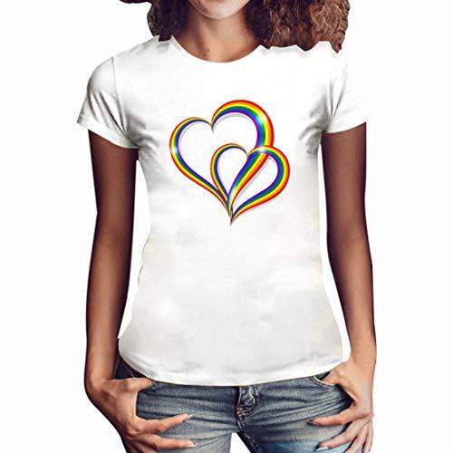 (Sunhusing Womens Double Rainbow Love Heart Printed Round Neck Short Sleeve T-Shirt Summer Slim Joker Top)