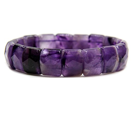- Natural A Grade Amethyst Genuine Semi Precious Gemstone 15mm Square Grain Faceted Beaded Stretchable Bracelet 7