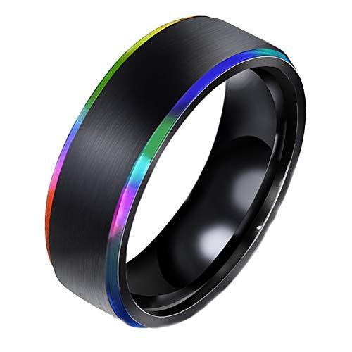 RGANT Men's Black Titanium Steel Wedding Ring,Edge Colorful Polished Rings