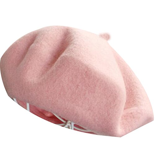 MUDINGXIU Women Girls Solid Color Wool Winter Beret French artist Beanie Hat Ski Cap (Pink)