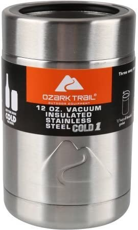 Ozark Trail 12-ounce Vacuum Insulated Stainless Steel Can Cooler with Metal Gasket