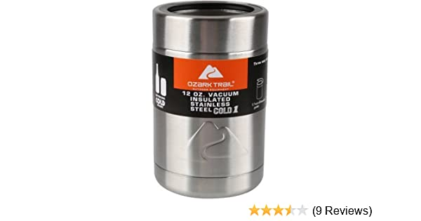 f326635b655 Amazon.com : Ozark Trail 12-ounce Vacuum Insulated Stainless Steel Can  Cooler with Metal Gasket : Garden & Outdoor