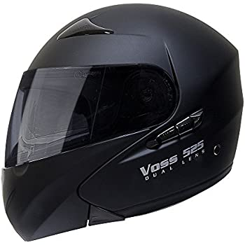 Voss 525 Dual Lens Modular Helmet with Integrated Sun Lens and Ratchet Quick Release - XS - Matte Black