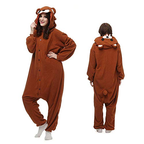 Unisex Animal Onesie Adult Pajamas Halloween Cosplay Costume Cartoon Sleepwear Outfit (L, Brown Bear)