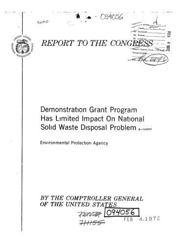 Solid Disposal Waste (Demonstration Grant Program Has Limited Impact on National Solid Waste Disposal Problem)