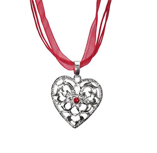Trachtenkette Herz rot (Motiv 6) mit roten Straßstein Trachtenschmuck für Dirndl