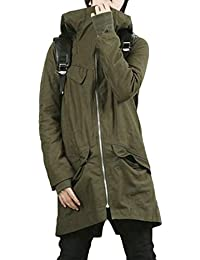 Men's Military Windbreaker Hooded Outwear Autumn Winter Trench Coat