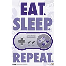 Eat Sleep Repeat Super Nintendo Video Gaming Poster 12x18