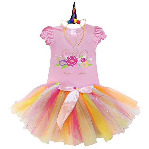 So Sydney Toddler Girls Unicorn Tutu Ruffle Dress or Skirt & Horn Headband Costume (M (4T), Pink Princess Tutu) ()