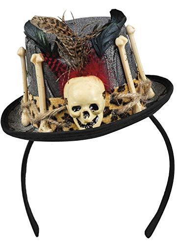 (Boland Halloween Voodoo Hat On Headband Bone & Skull Fancy Dress)