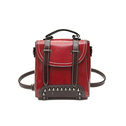 Bandoulière BAILIANG à Bandoulière Red Sac Main Mode Womens à PU ​​sac Rivet 8qFwrZ48