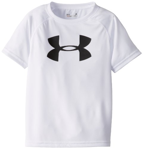 Under Armour Toddler Boys' Big Logo Short Sleeve Tee Shirt, White, 4T