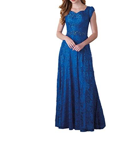 Spitze Marie La Abendkleider Linie Blau Ballkleider Brautmutterkleider A Kurzarm Lang Rock Steine mit Royal Braut gHxqnwFxT