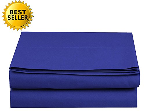 Luxury Flat Sheet Elegant Comfort Wrinkle-Free 1500 Thread Count Egyptian Quality 1-Piece Flat Sheet, King Size, Royal Blue (Flat Blue Sheet King)