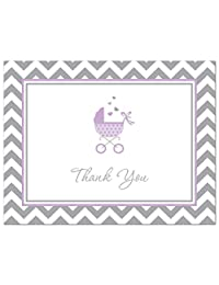 50 Cnt Lovely Purple Carriage Baby Shower Thank You Cards BOBEBE Online Baby Store From New York to Miami and Los Angeles