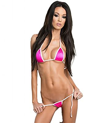 Neon Pink Bling Sexy Small Side Tie Thong Micro Mini Bikini 2 Piece Made in USA