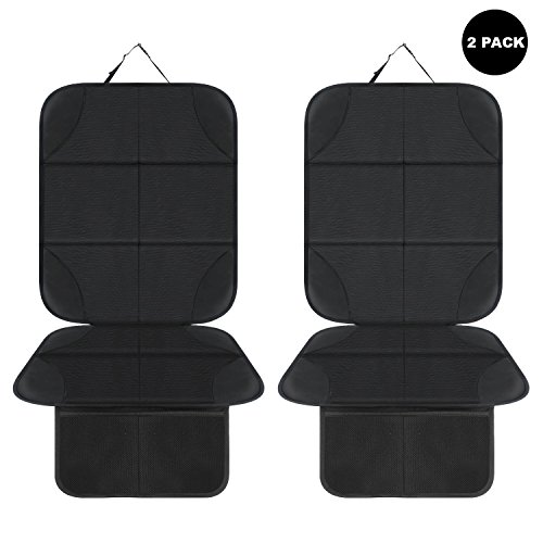 AOAFUN 2 Pack Car Seat Protector,Protects Car Upholstery from Child Seats, Offers Thick Protection for Child & Baby Cars Seats,Non-Slip Backing - Mesh Pockets - Easy Cleaning. (Black)