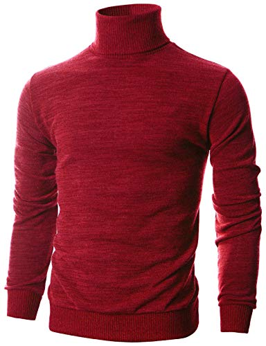 Ohoo Mens Slim Fit Long Sleeve Turtleneck Mixed Ribbed Hem Pullover Sweater/DCP024-RED-XL