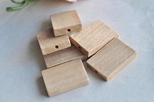 12pcs Unpainted Rectangular Wood Bead Square Natural Wooden Necklace Accessory (Fabric Jasper Necklace)