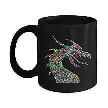 Cute Dragon Mug - 11 OZ Ceramic Coffee Cup - Black with Colorful Beast - Fantasy