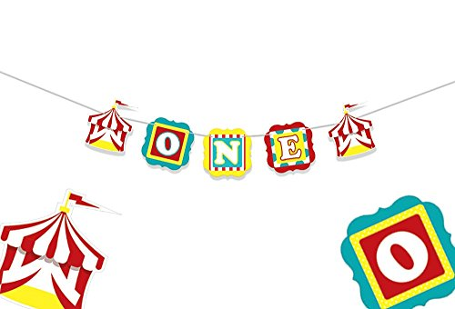 ONE Banner - Circus Party Supplies - 1st Birthday Decorations - Carnival High Chair Banner - Circus Birthday - First Birthday - ONE High Chair Banner - 1st Birthday Banner (Boston High Chair)