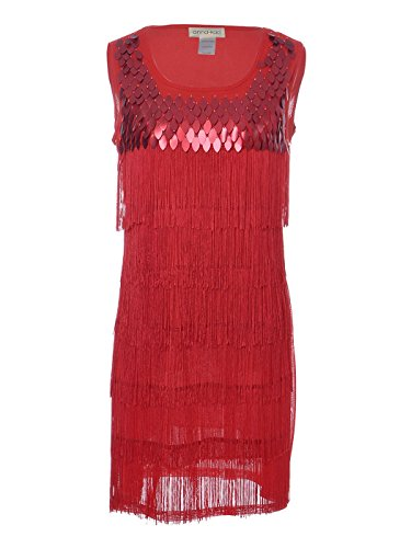 [Anna-Kaci Womens Sequin Fringed Sleeveless Solid Color 1920s Flapper Party Dress] (Flapper Outfit)