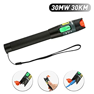 FXWSKY Visual Fault Locator, 30mw 30km VFL Pen Fiber Optic Cable Tester with Universal 2.5mm Adapter for FC SC ST Connectors (Aluminum)