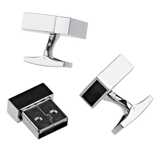 Polished Stainless Steel USB 4GB Flash Drive Formal Business Cufflinks with Magnetic Closure