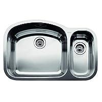 BLANCO 440246 WAVE Double Bowl Undermount Kitchen Sink, Stainless Steel