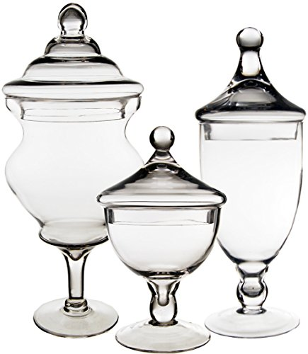 CYS EXCEL Apothecary Jars, Candy Buffet Display, Elegant Storage Jars, 3 Different Styles & Sizes, Pack of 1 Set of 3 (Boston)