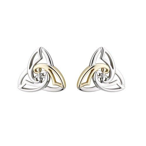 Solvar Silver & 10K Diamond Celtic Knot Studs by Solvar