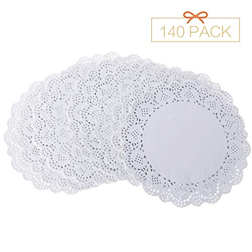"Lucky Monet 140Pcs Round/Rectangle Lace Paper Doilies Disposable Paper Doily Placemats for Party Wedding Tableware Decoration Cake Desserts Baking (Round, 4.5"")"