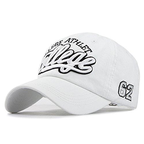 野球の帽子綿刺繍カジュアルフィット男性のキャップカセット,カレッジホワイト,調節可能な