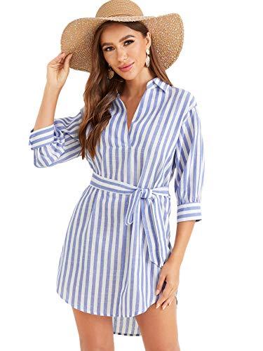 Sleeve Belted Shirt Dress - 6