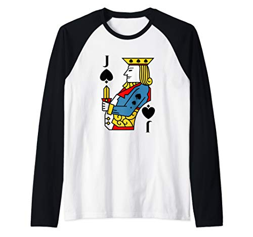 Jack of Spades Playing Card Costume Halloween Deck of Cards  Raglan Baseball Tee