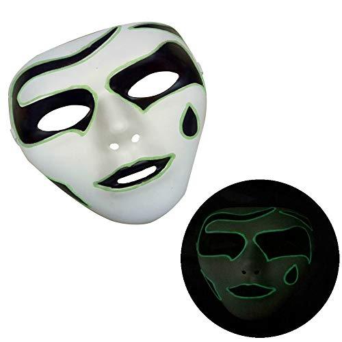 HHei_K Halloween Horror Luminous Mask Halloween Costume Party