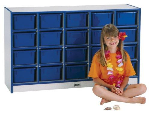 Rainbow Accents 0431JCWW112 30 Cubbie-Tray Mobile Storage with Trays, -