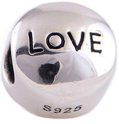 """Inscription """"Love"""" avec cœur rouge en cristal-incrustées avec de nouvelles-Argent 925/1000 européens Pandora Chamilia Charm Bracelets"""